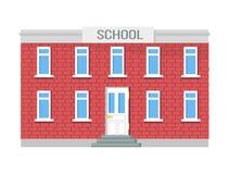 De school Two-storey Bouw, Vensters en Ingang Stock Fotografie