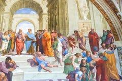 De school van Athene door Raphael in Apostolisch Paleis in Vatikaan C Stock Afbeelding