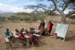 De School van Masai Stock Afbeeldingen