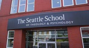 De School van Seattle van theologie en psychologie - SEATTLE/WASHINGTON - APRIL 11, 2017 royalty-vrije stock foto's