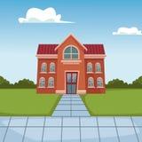 De schoolbouw beeldverhaal royalty-vrije illustratie