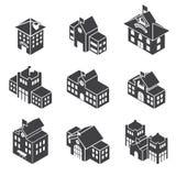 De schoolbouw 3d isometrisch Stock Afbeelding