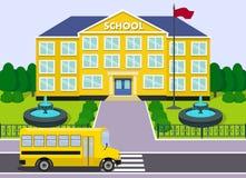 De schoolbouw en bus Grafische vector Royalty-vrije Stock Fotografie