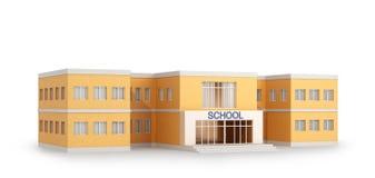 De schoolbouw, op witte achtergrond wordt geïsoleerd die stock illustratie