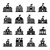 De schoolbouw pictogram Stock Afbeeldingen
