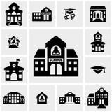 De schoolbouw vectordiepictogrammen op grijs worden geplaatst Stock Foto
