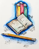 De schoolconcept van het onderwijs met boeken en potlood Royalty-vrije Stock Foto