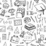 De schoolhulpmiddelen schetsen zwart-wit naadloos vectorpatroon Stock Foto's