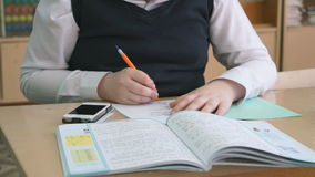 De schooljongen beslist de taak in het voorbeeldenboek stock video