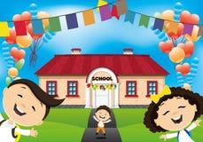 De schoolkinderen gaan naar school Royalty-vrije Stock Afbeeldingen