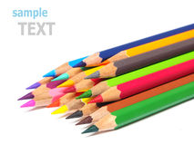 De schoollevering kleurt potlodenspaanders op wit worden geïsoleerd dat Royalty-vrije Stock Foto