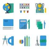 De schooltoebehoren kleurden eenvoudige pictogrammen Royalty-vrije Stock Foto