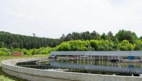 De schoongemaakte verduidelijking van het rioleringswater waterwork Stock Afbeelding
