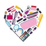 De schoonheid en de zorg, cosmetischee producten en maken omhoog elementen Royalty-vrije Stock Foto's