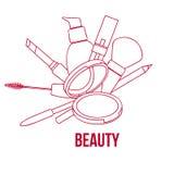De schoonheid maakt omhoog Hulpmiddelenreeks, Contour Vectorillustratie Stock Afbeeldingen