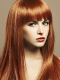 De schoonheid maakt omhoog Meisjesportret Rood Haar Stock Fotografie
