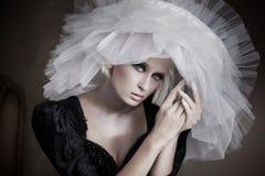 De schoonheid van de blonde met sensueel stelt Stock Afbeelding