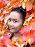 De schoonheid van de herfst Het portret van het aantrekkelijke naaktheidvrouw behandelen door esdoorn doorbladert Royalty-vrije Stock Afbeelding