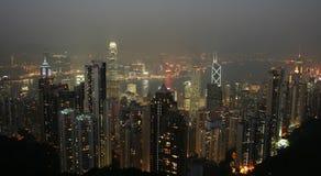 De Schoonheid van de Nacht van Hongkong Stock Foto