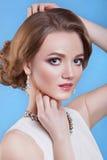 De schoonheid van het meisje Mooie vrouw met professionele make-up Stock Fotografie
