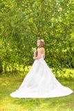 De schoonheidsbruid in bruids toga met boeket en het kant versluieren op de aard Mooi modelmeisje in een witte huwelijkskleding Stock Afbeeldingen