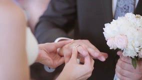 De schoonheidsbruid en de knappe bruidegom dragen ringen elkaar stock footage