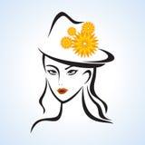 De schoonheidsgezicht van het meisje met hoed vector illustratie