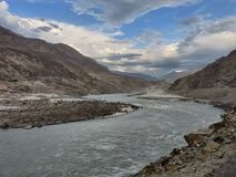 De schoonheidslandschap van Pakistan van de rivieraard stock afbeelding