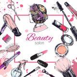 De schoonheidsmiddelen en de schoonheids vectorachtergrond met maken kunstenaar en het kappen omhoog voorwerpen: lippenstift, roo Royalty-vrije Stock Fotografie