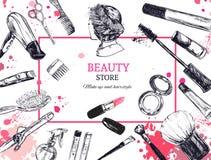De schoonheidsmiddelen en de schoonheids vectorachtergrond met maken kunstenaar en het kappen omhoog voorwerpen: lippenstift, roo Stock Foto