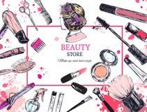 De schoonheidsmiddelen en de schoonheidsachtergrond met maken kunstenaar en het kappen omhoog voorwerpen: lippenstift, room, bors Stock Fotografie