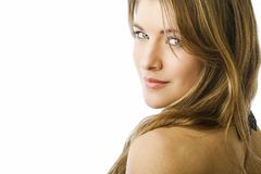 De schoonheidsportret van de blonde Stock Afbeeldingen