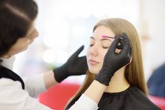 De schoonheidsspecialist kamt wenkbrauwen gebruikend speciale borstel op gezichts jong mooi model De gezichtszorg en maakt omhoog stock foto's