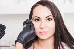 De schoonheidsspecialist plukt de wenkbrauwen van een jonge vrouw met pincet royalty-vrije stock foto