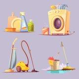 De schoonmakende Dienst 4 Geplaatste Beeldverhaalionen Stock Foto