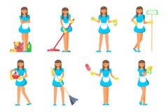 De schoonmakende karakters van het de dienstpersoneel Royalty-vrije Stock Afbeeldingen