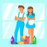 De schoonmakende karakters van het de dienstpersoneel Stock Foto's