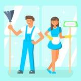 De schoonmakende karakters van het de dienstpersoneel Stock Foto