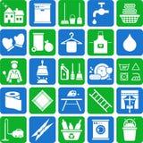 De schoonmakende pictogrammen van het huis Royalty-vrije Stock Afbeeldingen