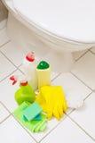 De schoonmakende puntenhandschoenen borstelen de witte badkamers van de toiletkom royalty-vrije stock afbeeldingen