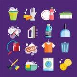 De schoonmakende schone dienst van de pictogrammen vectorreeks Stock Foto