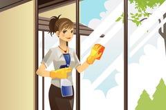 De schoonmakende vensters van de huisvrouw Stock Afbeeldingen