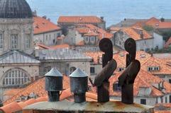 De schoorstenen van Dubrovnik stock foto's