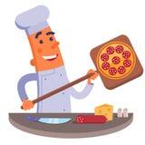 De schop van de de holdingspizza van de beeldverhaalchef-kok met pizza Stock Afbeelding