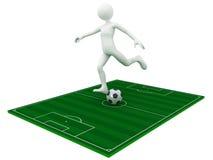 De schop van de voetbalster de bal Stock Afbeeldingen