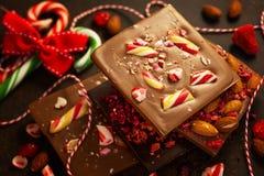 De schors van de Kerstmischocolade stock foto