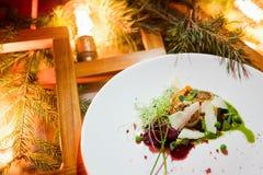De schotel gezonde maaltijd van het vakantierestaurant Stock Afbeeldingen