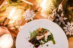 De schotel gezonde maaltijd van het vakantierestaurant Stock Foto