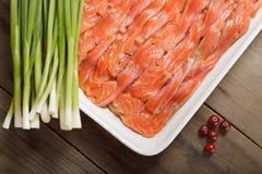 De schotel met Zweedse vismeel en Amerikaanse veenbessen Stock Fotografie