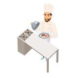De schotel van de chef-kokholding Stock Foto